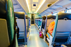 Finnish train with travelers Royalty Free Stock Photo