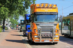 Finnish Truckers Protest Against EC Cabotage Rules Stock Image