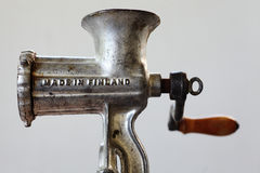 Finnish vintage meat grinder with inscription Made in Finland Royalty Free Stock Photography
