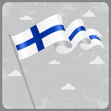 Finnish wavy flag. Vector illustration. Royalty Free Stock Image
