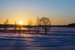 Finnish winter landscape with yellow sunset. In the background is an icy and snowy lake Stock Photo
