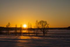 Finnish winter landscape with yellow sunset. In the background is an icy and snowy lake Stock Photos