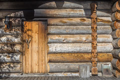 Finnish wooden loghouse Background. Finnish wooden loghouse in the forest of Lapland Europe Stock Photos