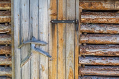 Finnish wooden loghouse Background. Finnish wooden loghouse in the forest of Lapland Europe Stock Images
