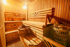 Finnish wooden modern empty sauna interior Royalty Free Stock Photography