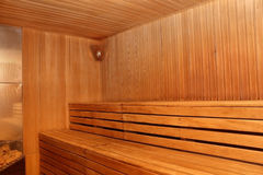 Finnish wooden sauna interior with nobody Royalty Free Stock Image