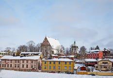 Finnland. Altes Porvoo im Winter Lizenzfreie Stockfotos