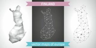 Finnland-Satz Grau und polygonale Karten des Silbermosaiks 3d Stockfoto