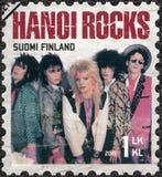 FINNLAND - 2015: Shows Hanoi-Rock, Reihe sechs international erfolgreiche finnische Rockbände Stockbild
