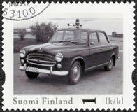 FINNLAND - 2013: Shows Peugeot 403, offizieller Weinlese-Polizeiwagen Reihe Finnlands Lizenzfreies Stockbild