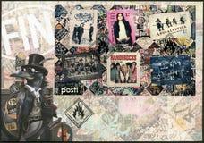 FINNLAND - 2015: Shows sechs international erfolgreiche finnische Rockbände Stockfoto