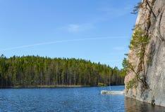 Finnlands populärster Kletterwand Stockfotografie