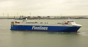 Finnlines-Schiff in Belgien Stockfoto
