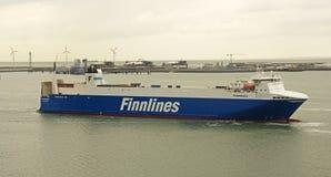 Finnlines skepp i Belgien Arkivfoto