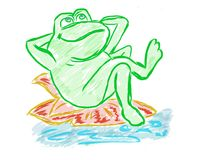 Funny frog artistic drawing Stock Image