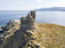 Finocchiarola, Mezzana,土地,盖帽Corse,可西嘉岛半岛海岛的鸟瞰图  免版税库存图片