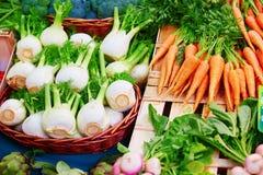 Finocchio e carote sul mercato parigino dell'agricoltore Fotografia Stock Libera da Diritti