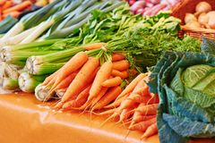 Finocchio e carote sul mercato parigino dell'agricoltore Immagini Stock Libere da Diritti