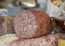 Finocchiona. A Tuscan Salami Made With Fennel Stock Photos