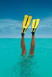 Fins. Snorkeling woman royalty free stock photography