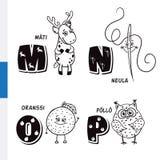 Fins alfabet Kuiten, Naald, Sinaasappel, Uil Vectorbrieven en karakters vector illustratie