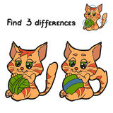 Fins differences (cat). Game for children: Find 3 differences (cat Stock Image