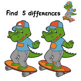 Fins differences (crocodile). Game for children: Find 5 differences (crocodile Royalty Free Stock Photo