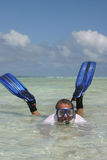 Fins and mask. Boy with fins and mask stock images