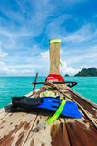 Fins, mask  and pipe for snorkeling on boat Stock Photography