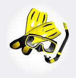 Fins, scuba mask and snorkel Stock Photography