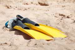 Fins and snorkel mask Royalty Free Stock Photography
