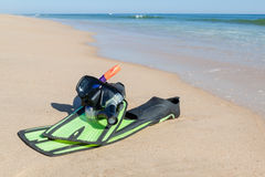 Fins,snorkel, mask for diving. On the beach. Royalty Free Stock Image