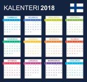 Finse Kalender voor 2018 Planner, agenda of agendamalplaatje Het begin van de week op Maandag Stock Afbeelding