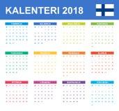 Finse Kalender voor 2018 Planner, agenda of agendamalplaatje Het begin van de week op Maandag Stock Fotografie