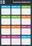 Finse Kalender voor 2018 Planner, agenda of agendamalplaatje Het begin van de week op Maandag Stock Foto