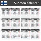 Finse Kalender voor 2018 Planner, agenda of agendamalplaatje Het begin van de week op Maandag Royalty-vrije Stock Afbeelding