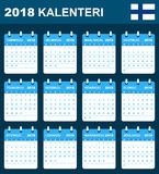 Finse Kalender voor 2018 Planner, agenda of agendamalplaatje Het begin van de week op Maandag Royalty-vrije Stock Foto's