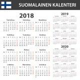 Finse Kalender voor 2018, 2019, 2020 Planner, agenda of agendamalplaatje Het begin van de week op Maandag Stock Afbeeldingen
