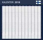 Finse Ontwerpersspatie voor 2018 Planner, agenda of agendamalplaatje Royalty-vrije Stock Afbeelding