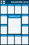 Finse Ontwerpersspatie voor 2018 Planner, agenda of agendamalplaatje Royalty-vrije Stock Foto