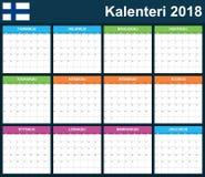 Finse Ontwerpersspatie voor 2018 Planner, agenda of agendamalplaatje Het begin van de week op Maandag Stock Foto's