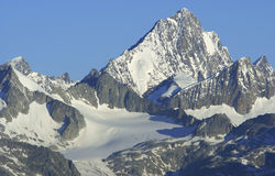 Finsteraarhorn. (4274 m) - the highest mountain in Bernese Alps, Switzerland Stock Photo
