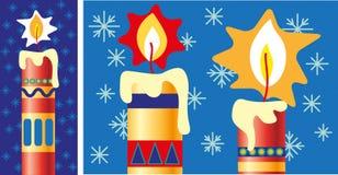 Fint dekorerad jul som tänds stearinljus vektor illustrationer