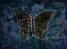 Fint mångfärgad fjäril i en natthimmel vektor illustrationer
