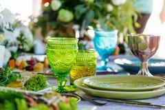 Fint äta middag bordlägger inställningen Royaltyfri Foto