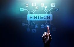 Fintech财政技术Cryptocurrency投资和数字金钱 在虚屏上的企业概念 库存照片