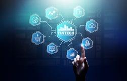 Fintech财政技术Cryptocurrency投资和数字金钱 在虚屏上的企业概念 库存图片