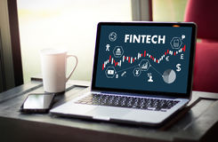 FINTECH οικονομική επιχείρηση χρημάτων τεχνολογίας Διαδικτύου επένδυσης Στοκ φωτογραφία με δικαίωμα ελεύθερης χρήσης