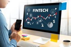 FINTECH οικονομική επιχείρηση χρημάτων τεχνολογίας Διαδικτύου επένδυσης Στοκ εικόνα με δικαίωμα ελεύθερης χρήσης