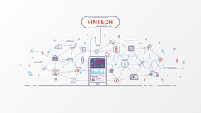 Fintech and Blockchain technology info graphic. Thin line art style design for web banner, business startup, commercial, poster design and advertising. Vector Royalty Free Stock Photography